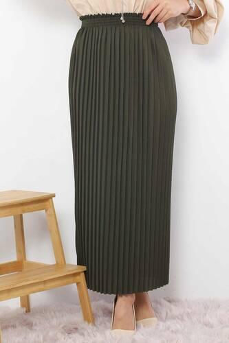 تنورة مستقيمة بطيات 1757 كاكي - Thumbnail