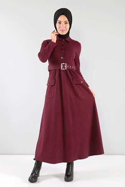 bordo-tesettur-elbiseler