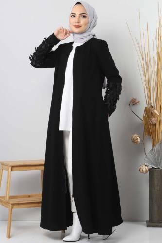 Abaya Large Sizes TSD2409 Black - Thumbnail