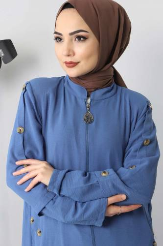 Abaya With Big Size Buttons TSD8889 Blue - Thumbnail