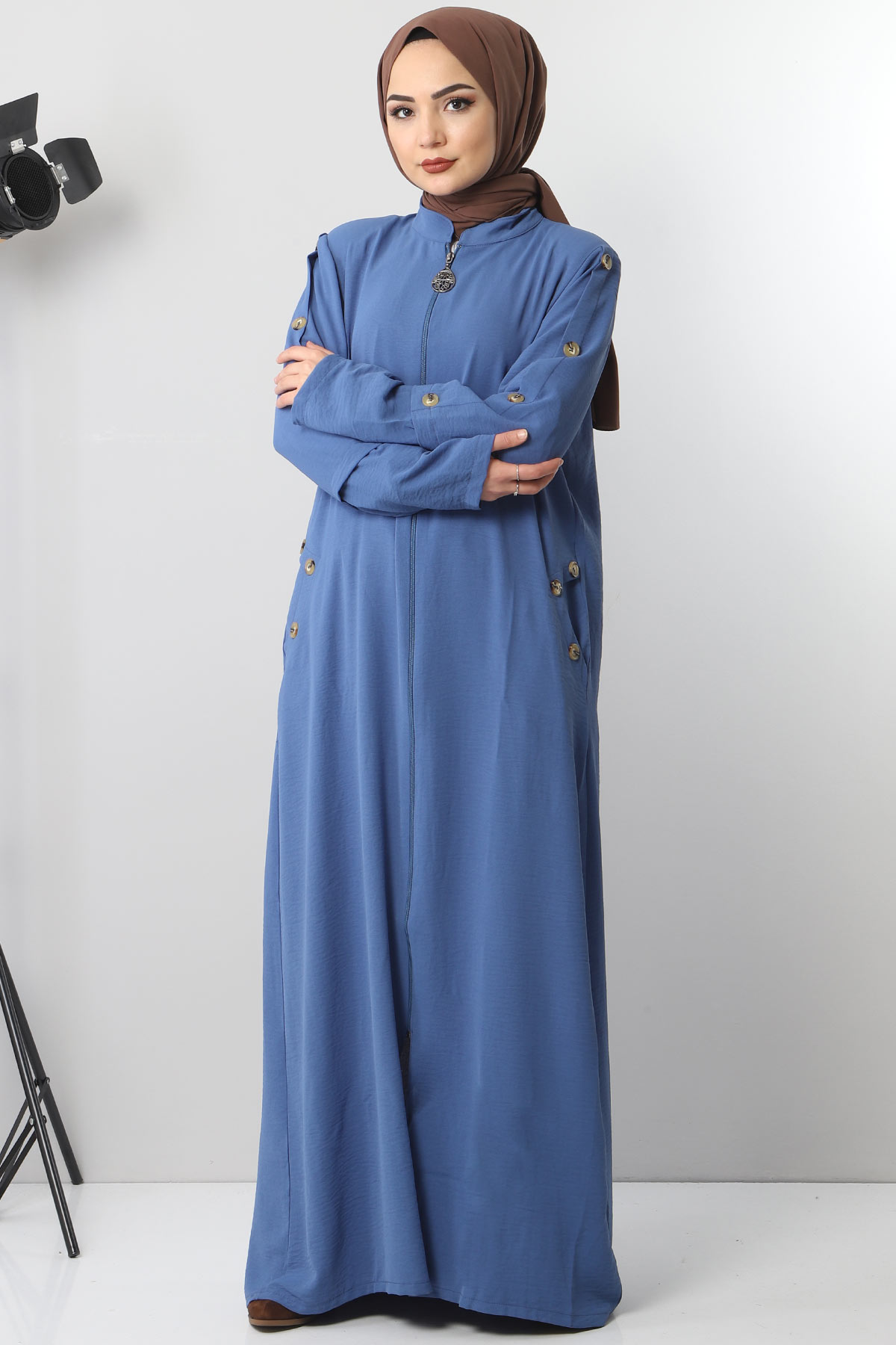 Abaya With Big Size Buttons TSD8889 Blue