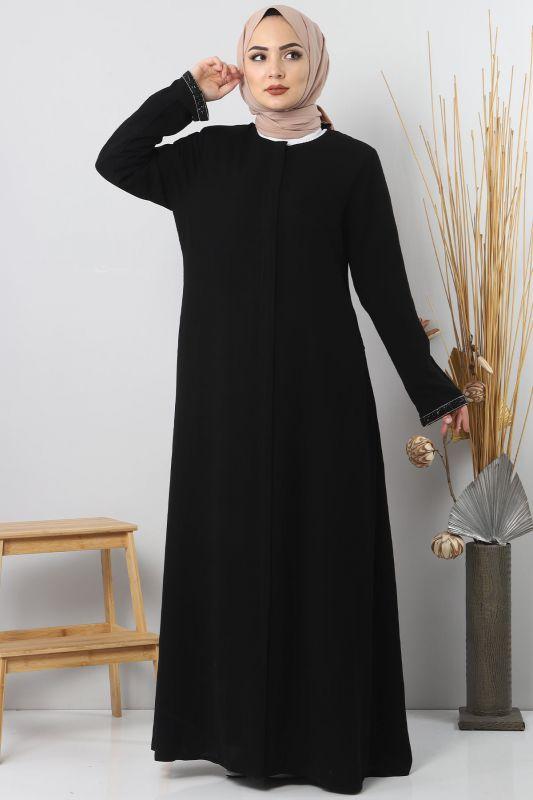 Abaya with stone details TSD4611 Black