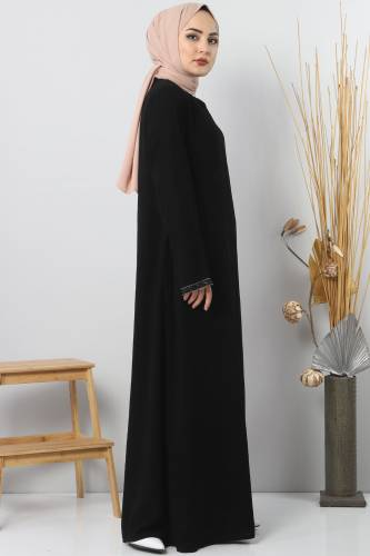 Abaya with stone details TSD4611 Black - Thumbnail