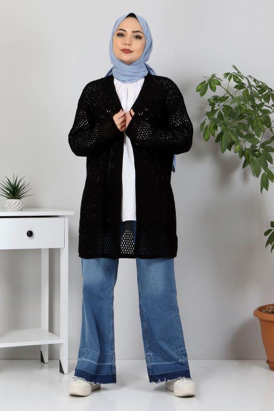Ajur Desenli Triko Hırka TSD30110 Siyah