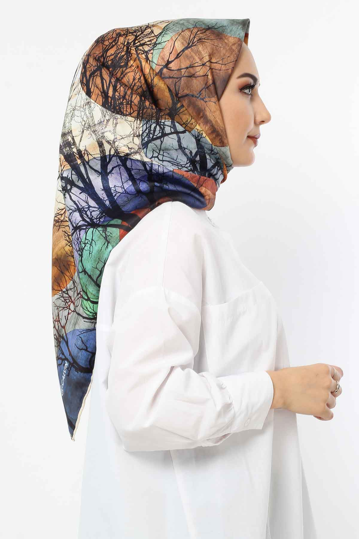 Autumn Patterned Scarf E006 Blue