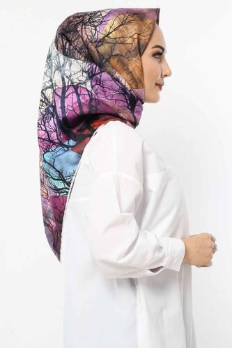Autumn Patterned Scarf E006 Purple - Thumbnail