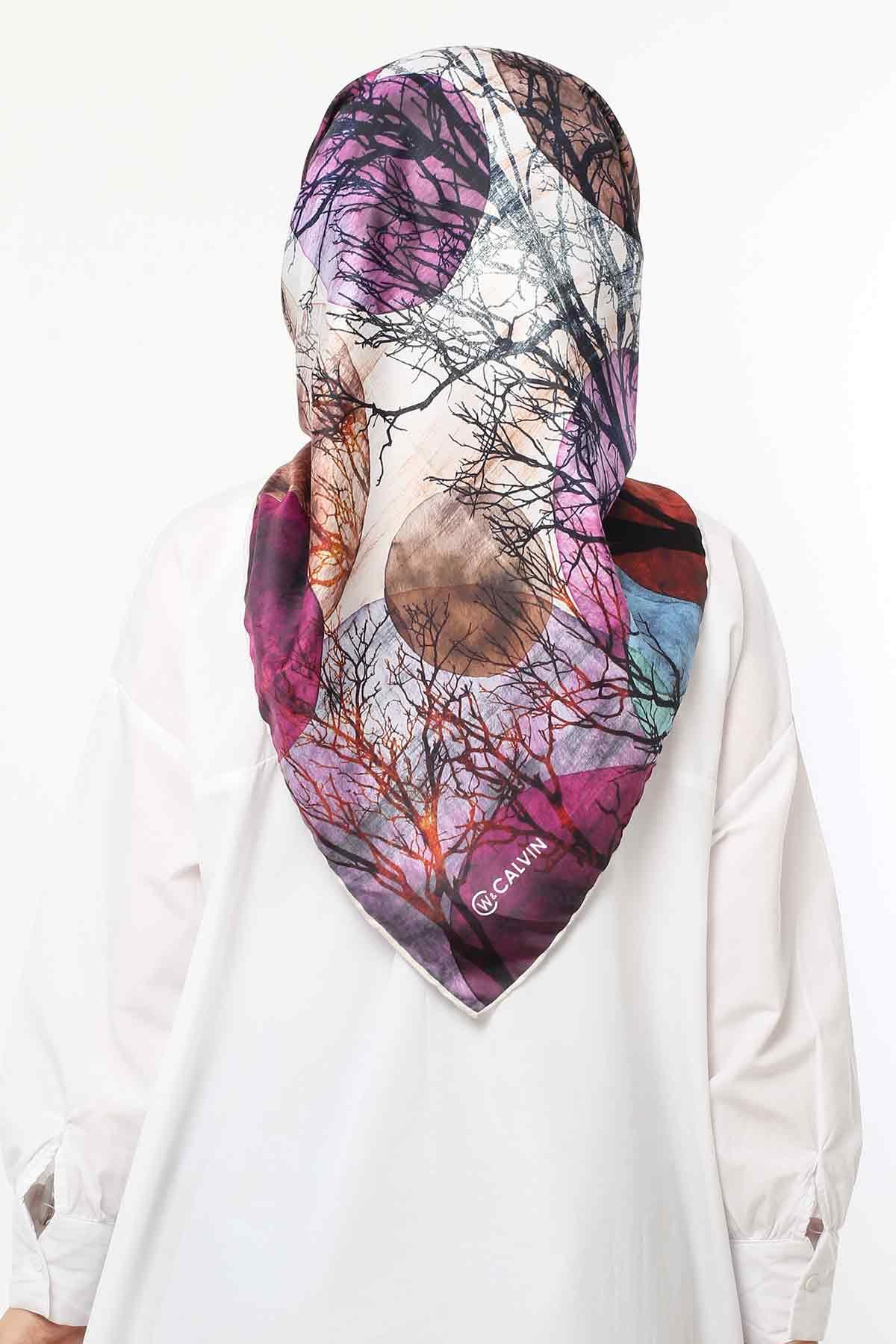 Autumn Patterned Scarf E006 Purple