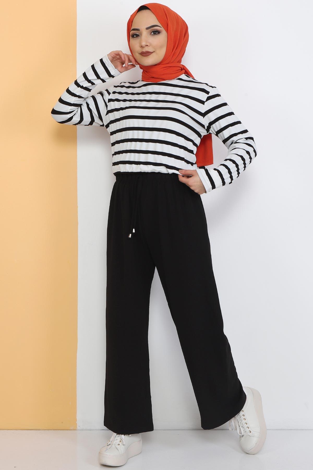 Ayrobin Bol Paça Pantolon TSD0510 Siyah
