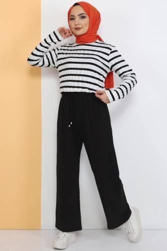 Tesettür Dünyası - Ayrobin Bol Paça Pantolon TSD0510 Siyah