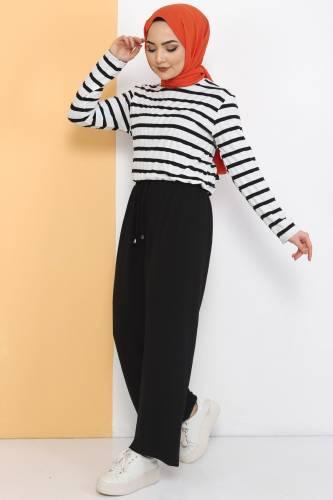 Tesettür Dünyası - Ayrobin Bol Paça Pantolon TSD0510 Siyah (1)