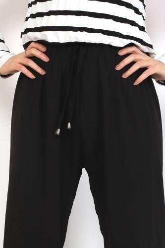 Ayrobin Bol Paça Pantolon TSD0510 Siyah - Thumbnail