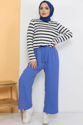 Tesettür Dünyası - Ayrobin Bol Paça Pantolon TSD0510 Mavi