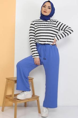 Tesettür Dünyası - Ayrobin Bol Paça Pantolon TSD0510 Mavi (1)