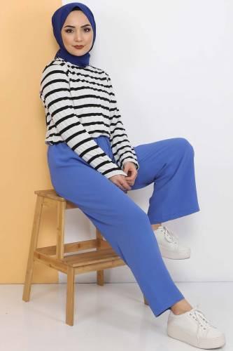 Ayrobin Bol Paça Pantolon TSD0510 Mavi - Thumbnail