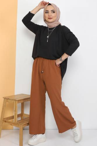 Tesettür Dünyası - Ayrobin Bol Paça Pantolon TSD0510 Taba