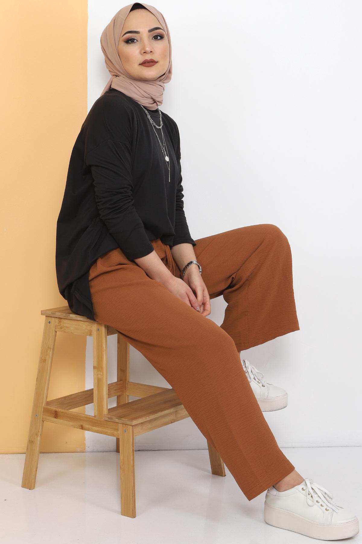 Ayrobin Bol Paça Pantolon TSD0510 Taba