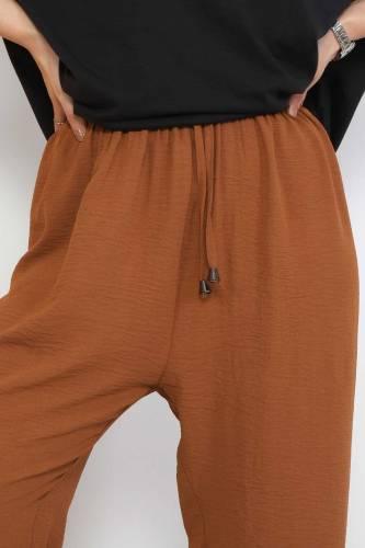 Ayrobin Bol Paça Pantolon TSD0510 Taba - Thumbnail
