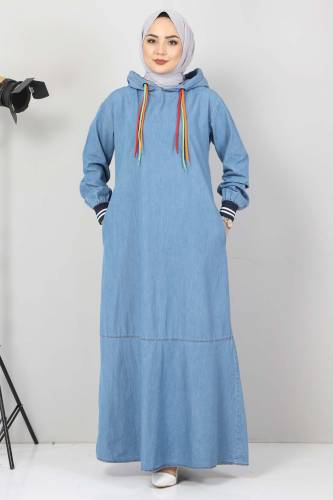 Tesettür Dünyası - Lace Detail Hooded Jeans Dress TSD1431 Light Blue