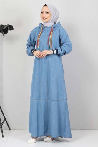 Tesettür Dünyası - Lace Detail Hooded Jeans Dress TSD1431 Light Blue (1)