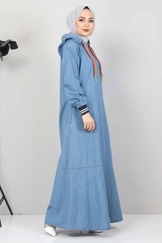 Bağcık Detaylı Kapşonlu Kot Elbise TSD1431 Açık Mavi - Thumbnail