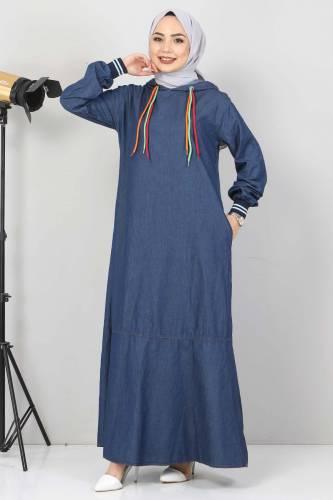 Tesettür Dünyası - Bağcık Detaylı Kapşonlu Kot Elbise TSD1431 Koyu Mavi