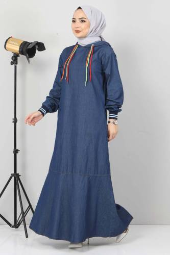 Tesettür Dünyası - Bağcık Detaylı Kapşonlu Kot Elbise TSD1431 Koyu Mavi (1)