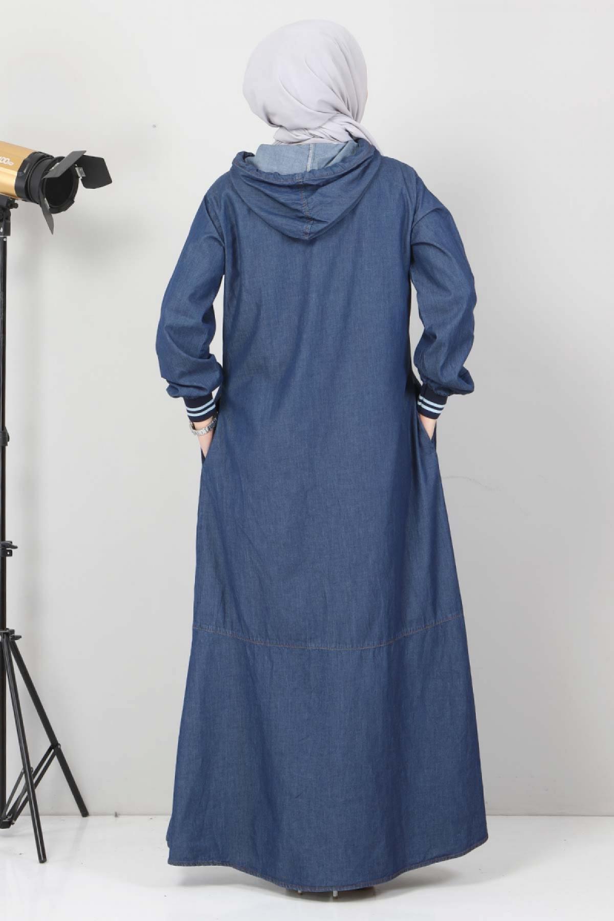 Bağcık Detaylı Kapşonlu Kot Elbise TSD1431 Koyu Mavi