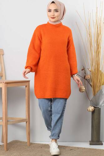 Tesettür Dünyası - Balloon Sleeve Knitwear Sweater TSD3647 orange