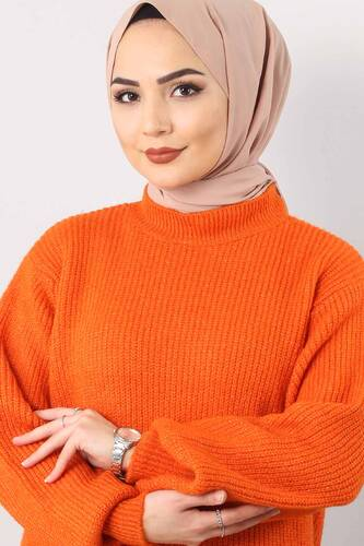 Tesettür Dünyası - Balloon Sleeve Knitwear Sweater TSD3647 orange (1)