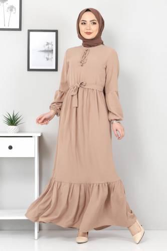 Tesettür Dünyası - Balon Kol Ayrobin Elbise TSD1105 Vizon