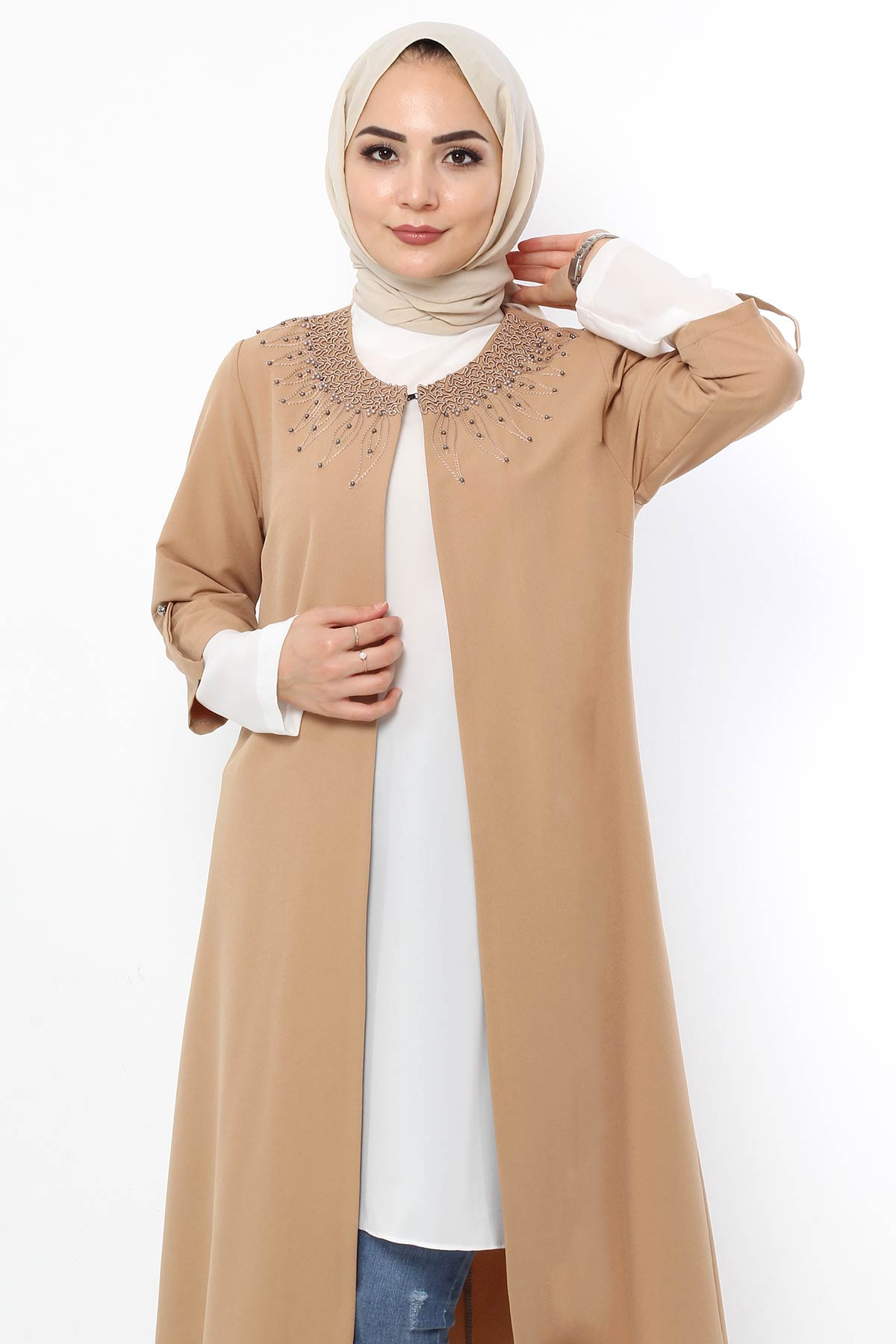 Bead Embroidered Collar Double Suit TSD1712 Camel