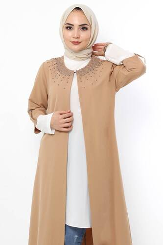 Bead Embroidered Collar Double Suit TSD1712 Camel - Thumbnail