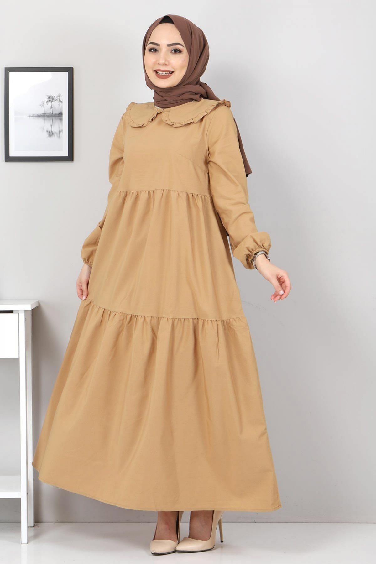 Bebe Yaka Tesettür Elbise TSD0706 Camel