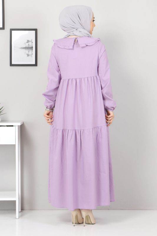 Bebe Yaka Tesettür Elbise TSD0706 Lila