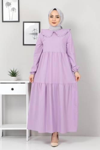 Bebe Yaka Tesettür Elbise TSD0706 Lila - Thumbnail