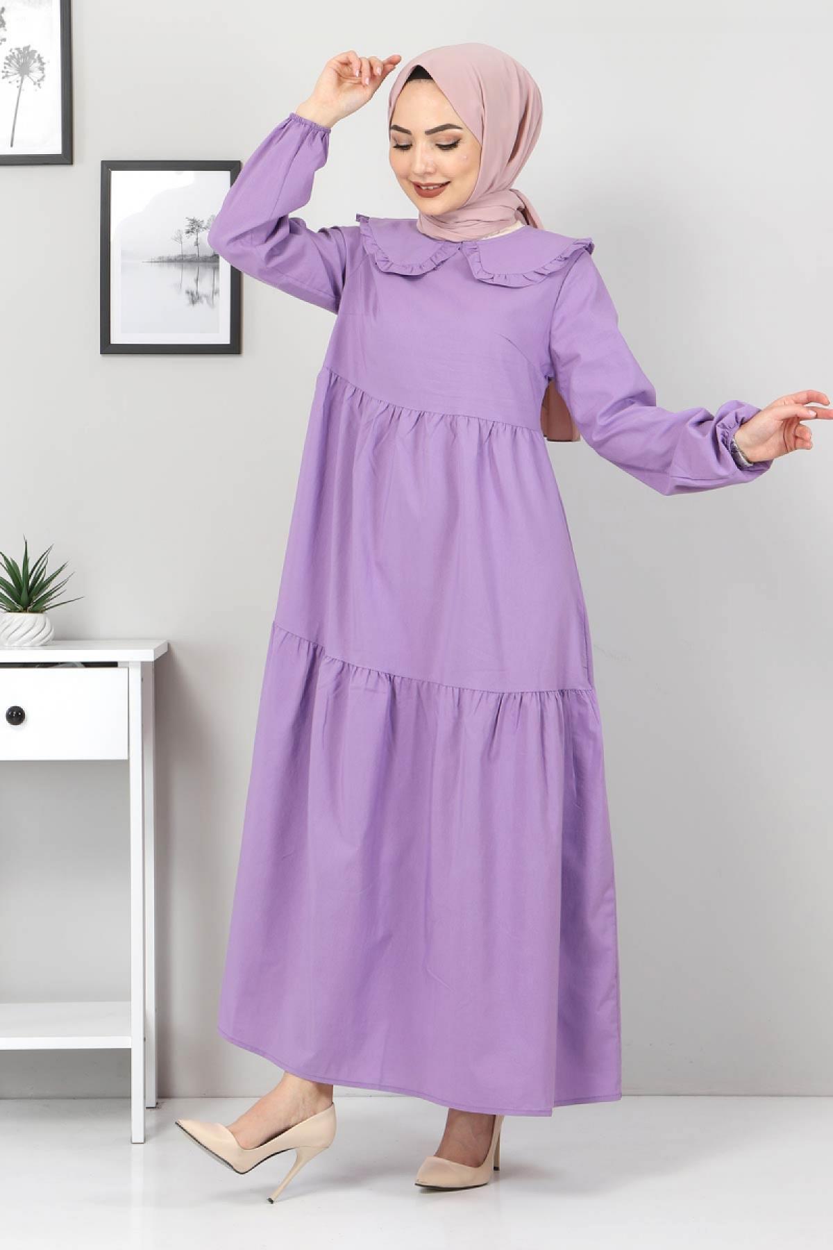 Bebe Yaka Tesettür Elbise TSD0706 Mor