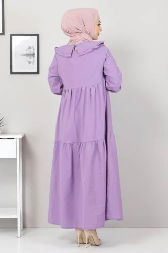 Bebe Yaka Tesettür Elbise TSD0706 Mor - Thumbnail