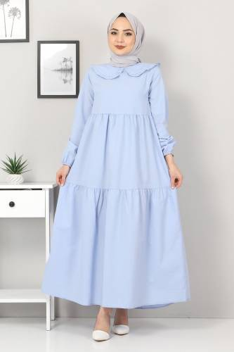 Bebe Yaka Tesettür Elbise TSD0706 Bebe Mavisi - Thumbnail