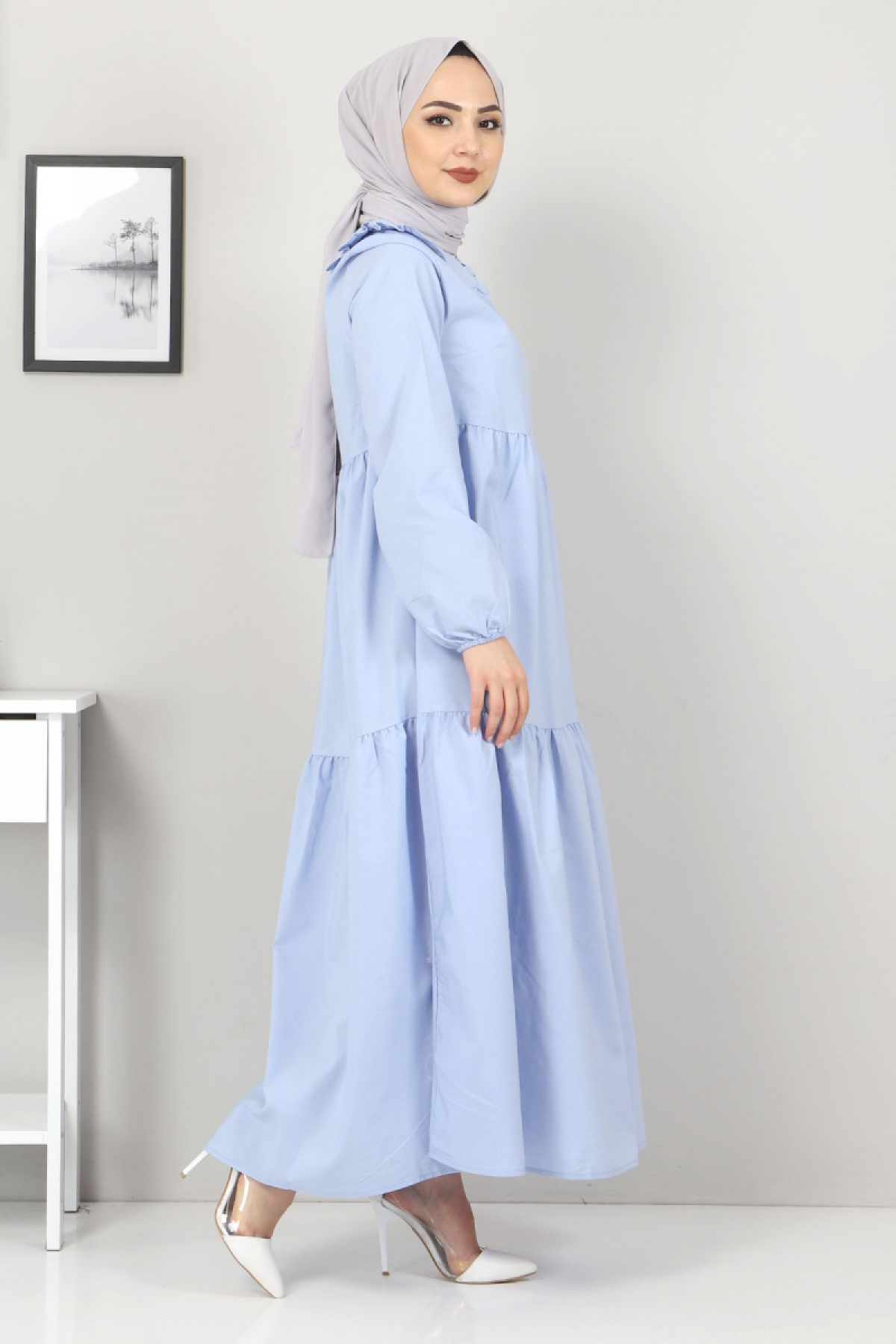 Bebe Yaka Tesettür Elbise TSD0706 Bebe Mavisi