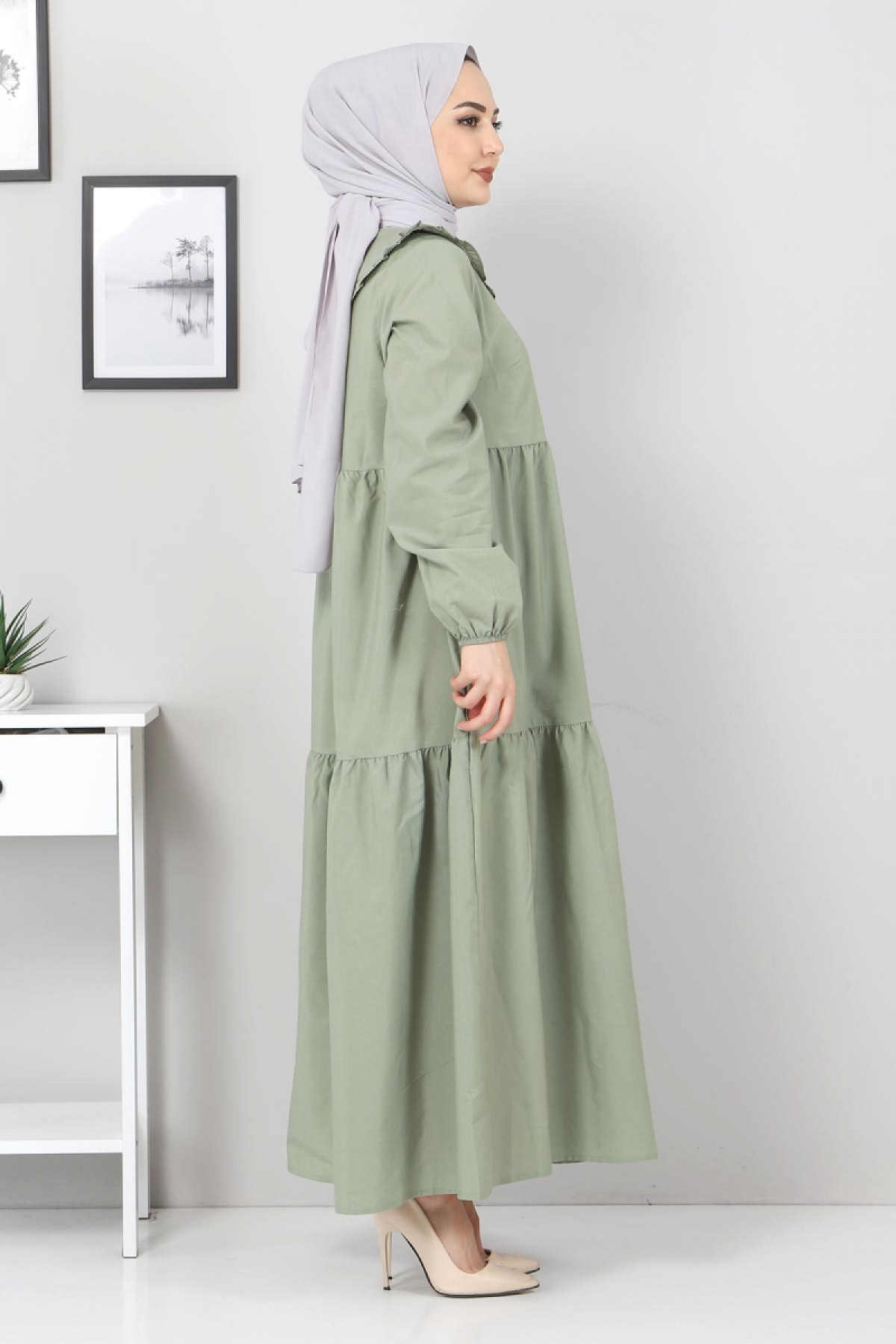 Bebe Yaka Tesettür Elbise TSD0706 Mint