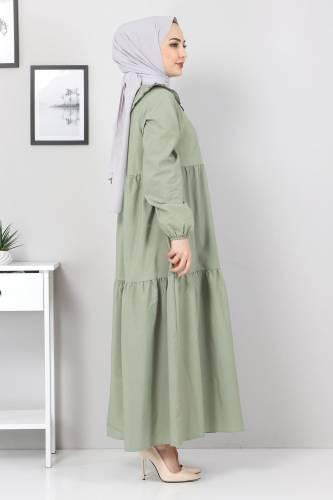 Bebe Yaka Tesettür Elbise TSD0706 Mint - Thumbnail