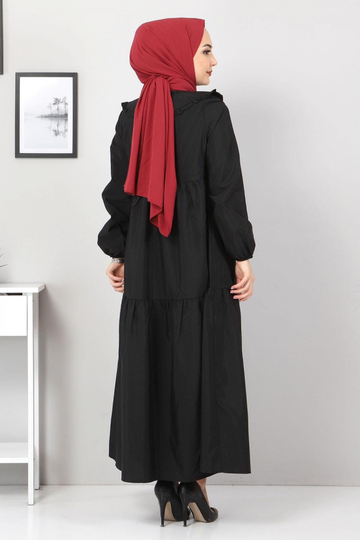 Bebe Yaka Tesettür Elbise TSD0706 Siyah