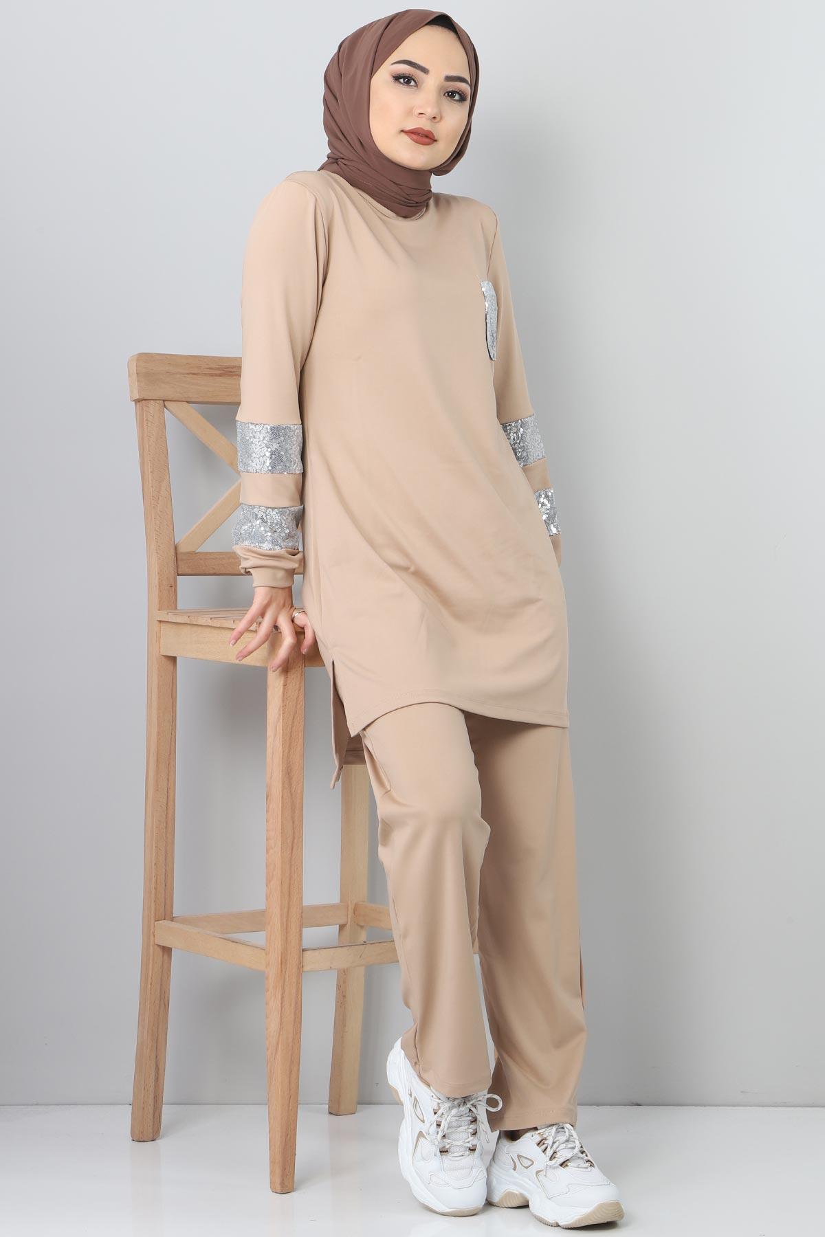Beige TSD1982 embroidered track suit