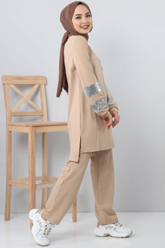 Beige TSD1982 embroidered track suit - Thumbnail