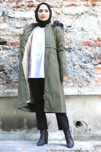 Tesettür Dünyası - Tie Waist Plus Size Coat TSD1945 Khaki (1)