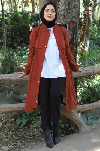 Tesettür Dünyası - Tie Waist Plus Size Coat TSD1945 Brick Color