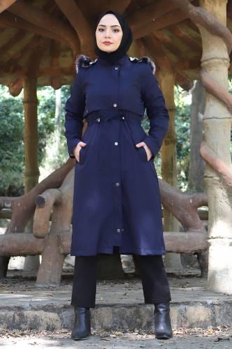 Tesettür Dünyası - Tie Waist Plus Size Coat TSD1945 Navy Blue