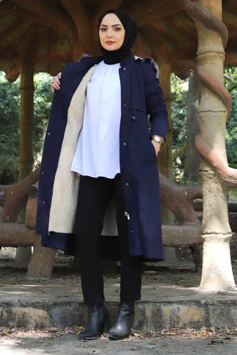 Tesettür Dünyası - Tie Waist Plus Size Coat TSD1945 Navy Blue (1)