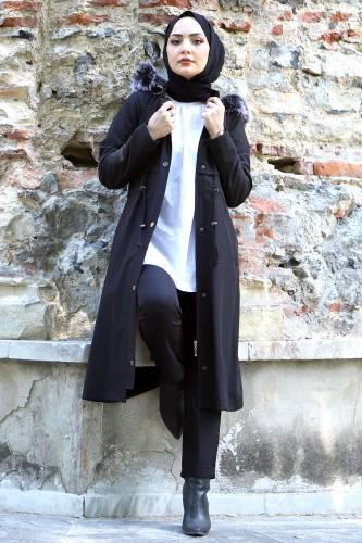 Tesettür Dünyası - Tie Waist Plus Size Coat TSD1945 Black