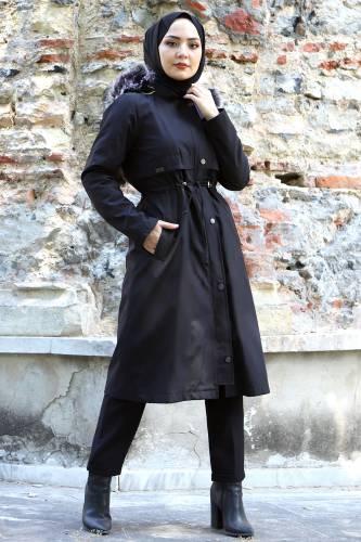 Tesettür Dünyası - Tie Waist Plus Size Coat TSD1945 Black (1)